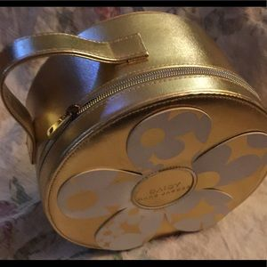 """Marc Jacobs """"Daisy"""" gold faux leather make up case"""